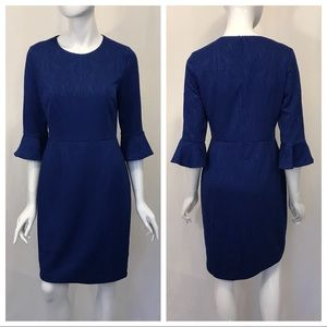 Donna Morgan Blue Dress with Ruffle Sleeves